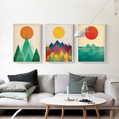 Mountains decor Modern Sunrise Canvas Art Poster great for any apartment or dorm room. Available at VENTURE MODERN.