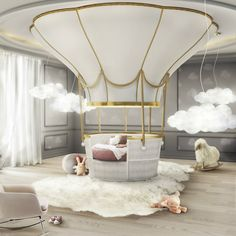 20 Luxury Dining Room with Gold Details - Kids Bedroom / Playroom - Cool Beds For Kids, Kids Bedroom Furniture, Bedroom Ideas, Luxury Furniture, Furniture Ideas, Nursery Ideas, Furniture Design, Bedroom Designs, Cheap Furniture