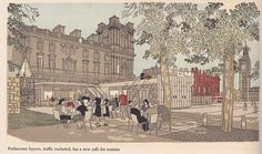 """Westminster Regained"" - illustrations by Gordon Cullen, c1949 - Parliament Square and cafe"