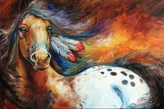 Real Spirit Horse | Art: SPIRIT INDIAN WARRIOR PONY by Artist Marcia Baldwin