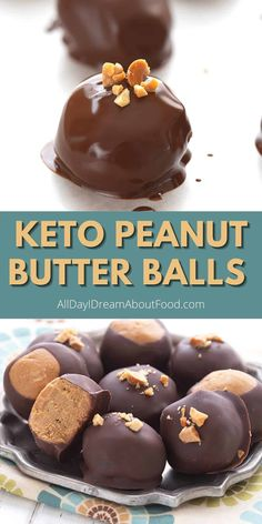 These no bake Keto Peanut Butter Balls are an easy and delicious low carb treat for peanut butter lovers. Dipped in sugar free chocolate, they can easily be made into keto buckeyes too! 2g net carbs per serving. Low Carb Candy, Keto Candy, Low Carb Sweets, Low Carb Desserts, Low Carb Recipes, Ketogenic Desserts, Keto Friendly Desserts, Keto Snacks, Keto Dessert Easy
