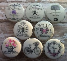 Vintage Drawer Knobs Handmade Pulls SPRINGTIME IN PARIS France Shabby Chic Cottage French Provincial Farmhouse White Refinished Dresser