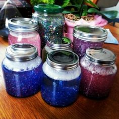 Calming Glitter Jars. *Use them to relax. Start by shaking the jar and then as you watch the glitter slowly fall to the bottom, take deep, calming breaths.