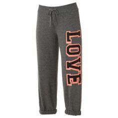 """Electric+Pink+""""Love""""+Roll-Cuff+Capri+Sweatpants+-+Juniors"""