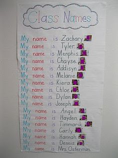 Getting to know you chart for beginning of year.  Can also have name, picture match as a station.