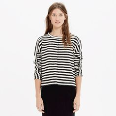 A soft striped sweatshirt style in cozy textural jacquard, this design-team favorite pairs a slouchy shape with sporty details, like a button-close neckline and eyelets at the armholes. <ul><li>True to size.</li><li>Cotton.</li><li>Machine wash.</li><li>Import.</li></ul>