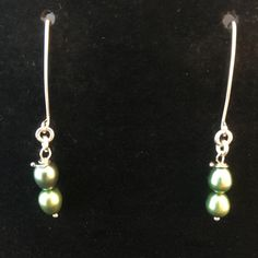 Genuine Green Double Pearl & Pure Silver Dangle Traditional Classic Earrings by MJDesigns4You on Etsy