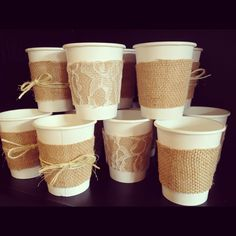 Burlap, Lace and Twine Paper Cups for a Wedding Shower, Wedding, Baby Shower or Birthday (Set of 20). Perfect for Coffee and Hot Chocolate. $21.95, via Etsy.