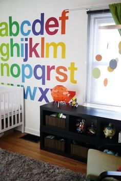 Lincoln's Easy As ABC Room My Room | Apartment Therapy - Love this kid's room wall decor idea! So Cute... could probably use vinyl letters to make it easier than painting...