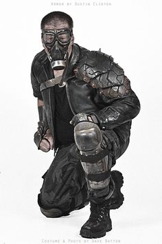 A costume featuring my tire armor and leather gauntlet. Dave made the rest of his costume. It's got everything I like--leather jacket, goggles, gas mask...But am I the only one who thinks he looks ...