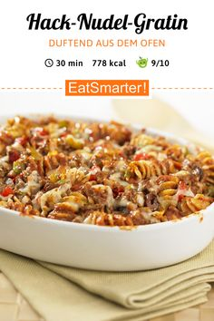 dinner recipes for kids Hack-Nudel-Gratin - smarter - Kalorien: 778 kcal - Zeit: 30 Min. Seafood Recipes, Pasta Recipes, Cooking Recipes, Healthy Dinner Recipes, Vegetarian Recipes, Oven Dishes, Le Diner, Healthy Salad Recipes, Clean Eating Recipes
