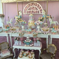 Mesa decorada tema Carrossel Vintage ,party designer ChiaraMarcelli