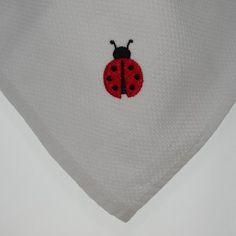 Ladybug Embroidered Tea Towel