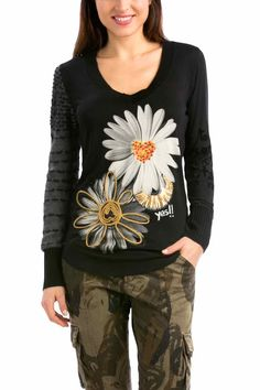 Desigual T-Shirt Bea, Black with Daisies, Canada