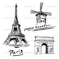 eiffel tower drawing | Paris, France - Eiffel Tower - hand drawn collection | Stock Vector ...