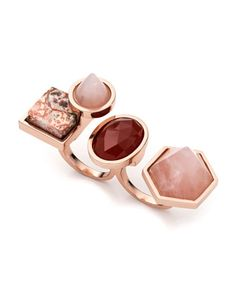 Rose Golden-Plated Two-Finger Composition Ring by Eddie Borgo at Neiman Marcus.