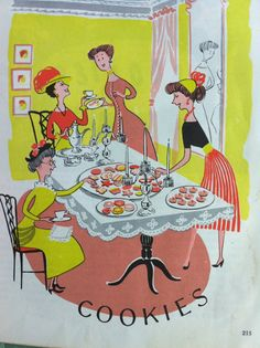 Vintage 1952 Hearthside Cookbook Illustration. Page introduces the cookie section.     by drcarrot/Etsy