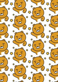KakaoTalk Friends Hello! Ryan (카카오톡 라이언) Friends Wallpaper, Bear Wallpaper, Kawaii Wallpaper, Pastel Wallpaper, Iphone Wallpaper, Ryan Bear, Kakao Ryan, Broken Screen Wallpaper, Kakao Friends
