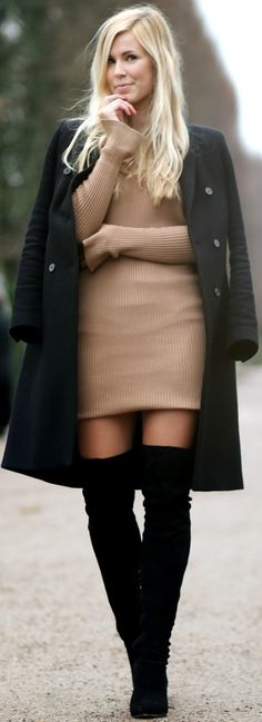 Coat: Zara // Knit Dress: Gina Tricot // Boots: Asos