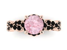 Black Diamond Morganite Engagement Ring Wedding RIng 14K Rose Gold Anniversary Ring with 6.5mm Round Peachy Morganite Center - V1033 by JewelryArtworkByVick on Etsy