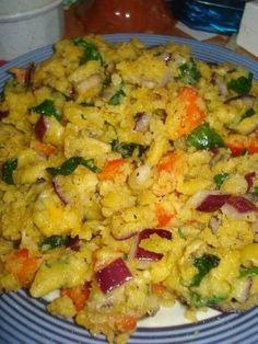 Chickpea flour scrambled omelet: vegan & veg friendly (but I'd totally add cheese)