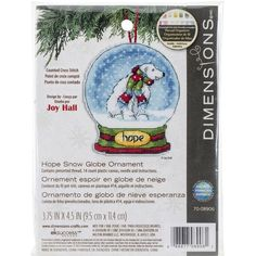 "Hope Snowglobe Counted Cross Stitch Kit-3.75""""X4.5"""" 14 Count Plastic Canvas"