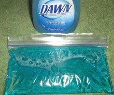 Homemade gel packs... Just use dawn and stick in the freezer... Easy as