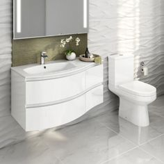 1040mm Amelie High Gloss White Curved Vanity Unit Right