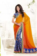 Beautiful blue and orange contrast Sari / Saree - half brasso and half Georgette material - Indian outfit