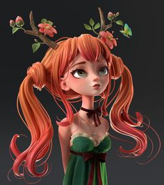 Druid Girl: Speed Polypaint in Zbrush - Animation Boss Zbrush Character, 3d Model Character, Character Modeling, Character Drawing, Animation Character, Character Concept, Concept Art, Cartoon Kunst, Cartoon Drawings