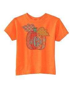Love this Orange Pumpkin Monogram Tee - Infant, Toddler & Kids on #zulily! #zulilyfinds