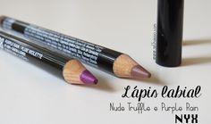 Lápis labial bom e barato, conheça o Lip Liner da NYX. Testei 2 cores, a Nude Truffle e Purple Rain http://www.oolhaisso.com/2015/08/lapis-labial-nyx-nude-truffle-e-purple-rain.html