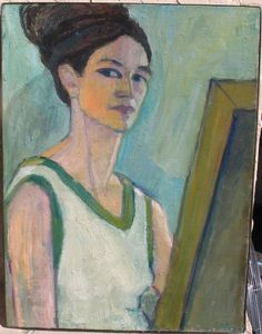 Rediscovered Of Mid Century Modernist Painting SELF PORTRAIT Phila.Artis #Impressionism