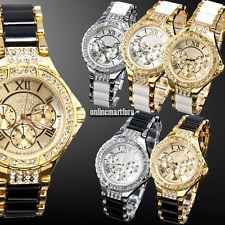 New Womens Bling Crystal Stainless Steel Dial Quartz Analog Wrist Watch