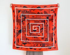 Maze furoshiki (cinnabar red) Japanese eco wrapping textile/scarf, handmade in Japan on Etsy, $48.00