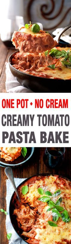 One Pot Creamy Tomato Chicken Pasta Bake - irresistibly creamy but made with NO cream. All made in one pot, even the pasta!
