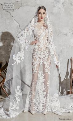 Lebanese fashion designer Zuhair Murad presented his bridal collection for Spring 2020 season, inspired by Spanish weddings, matadors, and flamenco dancers. Sheer Wedding Dress, Western Wedding Dresses, Couture Wedding Gowns, Princess Wedding Dresses, Bridal Gowns, Couture Bridal, Lace Wedding, Bridal Hair, Zuhair Murad Bridal