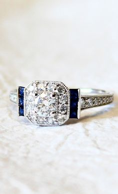 Something blue for the wedding! This sapphire engagement ring has it all.