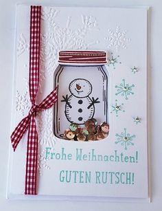 Schüttelkarte - New Ideas Christmas Paper Crafts, Diy Christmas Cards, Halloween Cards, Scrapbooking, Scrapbook Cards, Mason Jar Cards, Fancy Fold Cards, Shaker Cards, Winter Cards