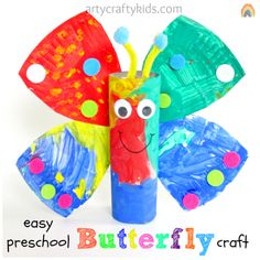 Arty Crafty Kids: Easy Butterfly Craft for preschool and elementary kids!  Easy Toilet paper roll and paper plate craft.