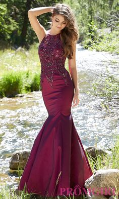 Long sleeveless mermaid style open back prom dress with beaded details by Mori Lee. Style: ML-99050