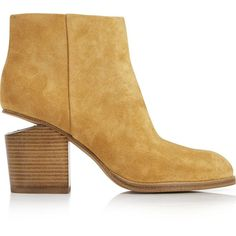 Alexander Wang Gabi Suede Ankle Boots ($715) ❤ liked on Polyvore featuring shoes, boots, ankle booties, tan, pointed toe ankle boots, chunky-heel ankle boots, pointed toe booties, short boots and high heel booties