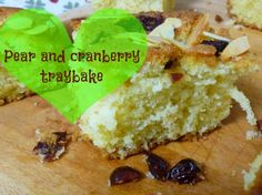 Pear and cranberry traybake