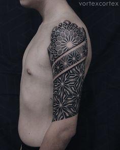 Tattoo Nikita Petrov - tattoo's photo In the style Ornamental, Ornamen Geometric Mandala Tattoo, Geometric Sleeve, Cover Tattoo, Arm Tattoo, Psychedelic Tattoos, Black Work, Shoulder Tattoo, Tattoo Photos, Geometry