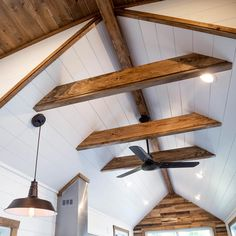 Tedesco by Liberation Tiny Homes - Tiny Living Cottage Living Rooms, Tiny Living, Living Area, Home Ceiling, Ceiling Beams, Shiplap Ceiling, Vaulted Ceiling Decor, Bedroom Ceiling, Ceiling Fan