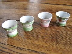 4 Japanese Erotic Dragon Ware Saki Cups Peek-a-Boo Nudes Lithophane Image 1950s