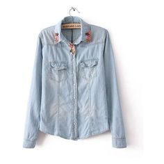 Washed Denim Shirt with Button Embellished Collar ($47) ❤ liked on Polyvore