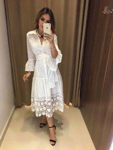 Compre Vestido Feminino pelo Menor Preço e encontre tudo em moda feminina para renovar seu guarda roupas. Day Dresses, Dress Outfits, Nice Dresses, Casual Dresses, Summer Dresses, Lace Dress, Dress Up, White Dress, White Outfits