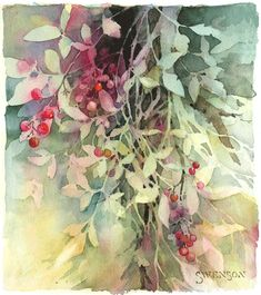 Leaves & Berries - watercolor on paper, - artist Brenda Swenson gradually chipped away at the lights of the paper to reveal her subject, a negative painting technique Watercolor Negative Painting, Watercolor Fruit, Watercolor Tips, Watercolor Pictures, Watercolor Leaves, Watercolour Tutorials, Watercolor Techniques, Art Techniques, Painting & Drawing