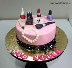 Makeup, Shopping, Jewellery theme small personalized designer fondant cake for girlfriend's birthday at Magarpatta, Pune